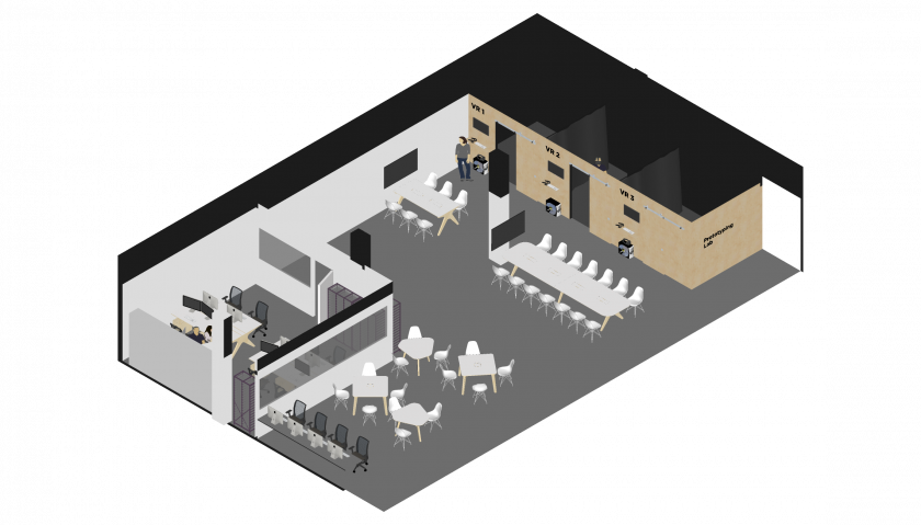 Axonometric 3D render of the Creative Technology Lab
